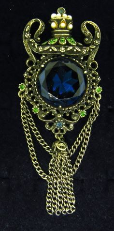 Florenza Sapphire Blue Rhinestone Pearl Heraldic Tassel Vintage Silver Brooch | eBay
