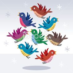 """FOR SALE: 8 Birds Going """"Cheep!"""" Royalty Free Stock Vector Art Illustration"""
