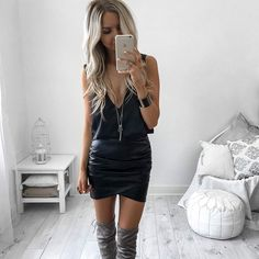 Thigh high boots + black dress