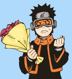 Adorable Obito Uchiha. Flowers for Rin.