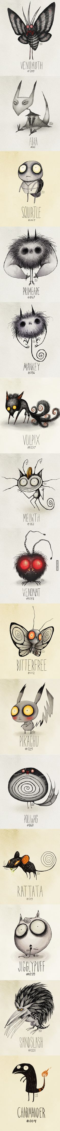 If Tim Burton was doing Pokemon...THIS is what theyd look like...hahahahahaha