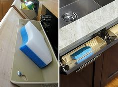Install kitchen sink drawers that tip out.  (Home Decor)