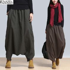 Cheap SERENELY 2016 Linen Casual Pants Personality Loose Harem Pants Plus Size Solid Elastic Waist Women's Pants for Women Trousers, Buy Quality Pants Sarouel Pants, Yoga Trousers, Baggy Pants, Loose Pants, Trousers Women, Harem Pants, Pants For Women, Clothes For Women, Casual Pants