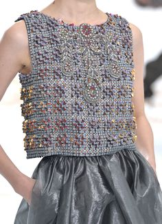 Chanel couture AW14/15 detail of blouse made of concrete