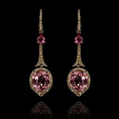 "Repost @annoushkajewellery  #LimitedEdition One of a Kind earrings set with Pink #Tourmaline and #diamonds  ""I hope these earrings surprise, delight and inspire, each time they are worn"" -Annoushka"