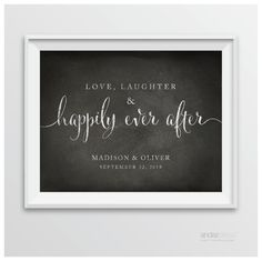 AP10347 Andaz Press Personalized Wedding Party Signs, Vintage Chalkboard Print, 8.5-inch x 11-inch, Love, Laughter & Happily Ever After