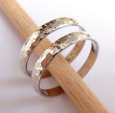 Wedding bands set white gold women's men's Wedding rings set 3mm wide hammered shiny. $390.00, via Etsy.
