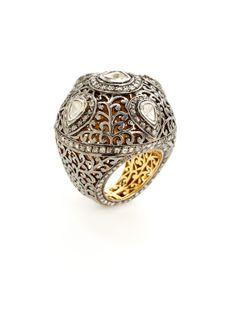 Two Tone & Diamond Domed Filigree Ring by Loren Jewels