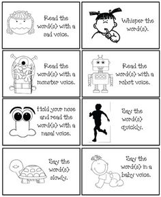 """Sight word activities:  FREE """"Read the word"""" voice cards.  Game includes a list of Dolch words (pp-3rd).  Students choose a voice card and read the word(s) using that voice. i.e a monster voice, robot voice or read it soft, loud, in a whisper etc.  FREE packet includes 24 voice cards, 5 word lists, posters & links for more sight word fun."""