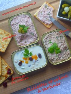 Rillettes de thon, rillettes de jambon et crème de fromage de chèvre pour un plateau télé salé - Secrets de cuisine