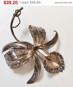 Silver Orchid Brooch Pin Vintage Marked EOM 925