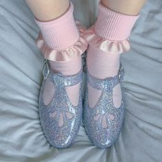 pink, shoes and girly image on We Heart It Sock Shoes, Cute Shoes, Creepers, Ballet Shoes, Dance Shoes, Glitter Jelly, Jelly Shoes, Japanese Fashion, Cool Girl