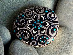 Snowfall at Twilight / Painted Stone / Sandi Pike Foundas / Cape Cod. $22.00, via Etsy.