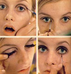 Twiggy being Twiggy. How to make up twiggy style. Mod Makeup, Twiggy Makeup, Makeup Inspo, Makeup Inspiration, Makeup Tips, Beauty Makeup, Hair Makeup, Makeup Style, Sixties Makeup