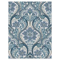 This folk style damask wallpaper has an intricate, hand drawn design. A beautiful array of blues accent the floral pattern over a dove grey background. Modern decor is chic and sophisticated. Tile Wallpaper, Prepasted Wallpaper, Damask Wallpaper, Paper Wallpaper, Wallpaper Samples, Wallpaper Roll, Turquoise Wallpaper, Bedroom Wallpaper, Nature Wallpaper