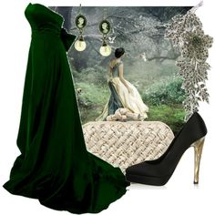 Forest Fairy Tale by madberry on Polyvore featuring Katia Lombardo, Bottega Veneta, Antiquities Couture, 1928, dark, prom, train, formal, crystal heels and green