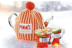 Winter Pimms! 150ml Pimms, 400ml apple juice, 1 apple and 1/2 an orange chopped into small chunks, 1 cinnamon stick. Heat everything together until simmering, remove cinnamon when ready to serve!