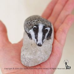 New piece completed. European Badger painted on natural shape stone. He is resting & watching you! The size: W30xD20xH40mm ヨーロッパアナグマ、完成しました☆ そっとこちらを窺っているようです。 #stoneart #stonepainting #rockart #rockpainting #drawing #painting #art #fineart #akie #Europeanbadger #badger #wildlife #ヨーロッパアナグマ #アナグマ