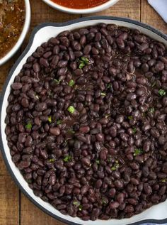 Chipotle Black Beans (Copycat) recipe with chili powder, cumin, lemon and lime. Chipotle Black Beans (Copycat) recipe with chili powder, cumin, lemon and lime is an easy recipe that brings the taste of Chipotle Mexican Grill home. Mexican Beans Recipe, Mexican Food Recipes, Whole Food Recipes, Cooking Recipes, Yummy Recipes, Mexican Dishes, Yummy Food, Dinner Recipes, Soups