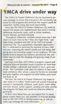 YMCA of Greater Oklahoma City Launches 2017 Annual Campaign