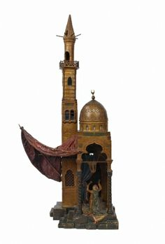 A large Orientalist Viennese cold painted bronze lamp by Bergman. Viennese, early 20th Century