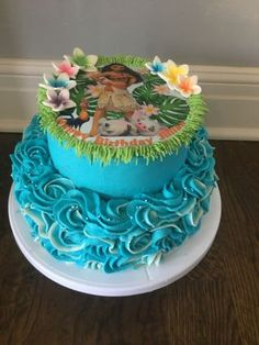 Birthday cake made for a Moana loving little girl. Moana Birthday Party, Moana Party, Birthday Cake Girls, Birthday Parties, Ocean Cakes, Traditional Wedding Cakes, Cake Images, Girl Cakes, Cream Cake