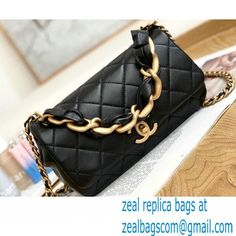 Chanel Shiny Lambskin Entwined Chain Flap Bag AS2388 Black 2021
