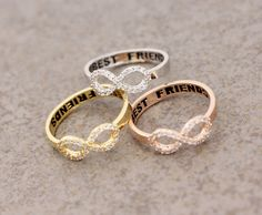 Best Friend Infinity ring Cubic Zirconia Setting in by ModsTheMost (three best friend gifts) Bff Necklaces, Best Friend Necklaces, Best Friend Jewelry, Bff Rings, Cute Rings, Bestie Gifts, Gifts For Friends, Friend Gifts, Best Friend Rings