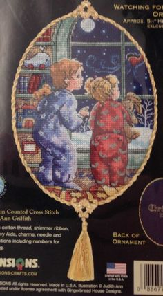 Watching For Santa Ornament Dimensions Gold Petites Counted Cross Stitch