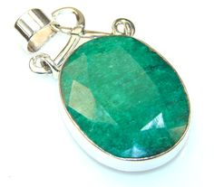 $48.25 Florence Emerald Sterling Silver Pendant at www.SilverRushStyle.com #pendant #handmade #jewelry #silver #emerald