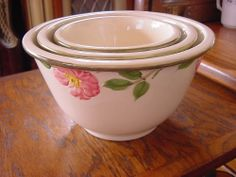 FRANCISCAN DESERT ROSE SET OF 3 MIXING NESTING BOWLS - I have never seen these before, would maybe be cool to have one day! =)