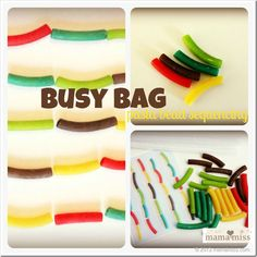 busy bag: Pasta Bead Sequencing + Free Printable {mama♥miss}