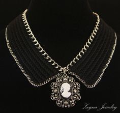 Black crochet Collar with Chain trim and removable by ZegnaJewelry, $65.00