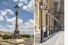 Candélabres du Pont Neuf, 1er ; Ils ont été dessinés par Victor Baltard en 1854. L'année suivante, Haussmann fusionnait les six sociétés privées concédées en 1846 dans la Compagnie parisienne d'éclairage et de chauffage par le gaz, encourageant les innovations techniques pour améliorer la qualité de la lumière et généralisant l'usage des candélabres. Auparavant, c'est par des lanternes fixées à des consoles murales ou suspendues que la ville était éclairée.