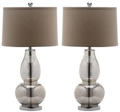 Safavieh Lighting Collection Mercurio Double Gourd Antique Silver and Wheat Table Lamp, Set of 2