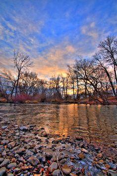 Winter Sunset on the Boise River 2 Boise Idaho by Daveidaho, $25.00