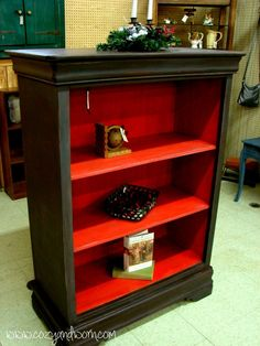 Distressed Furniture - Chest Turned into a Bookcase. I need to find a narrow dresser to do this.