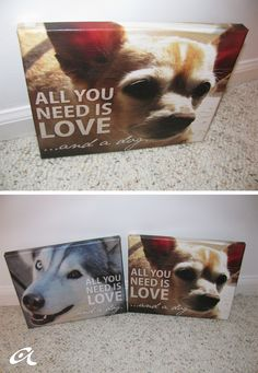 DIY Photo canvas. This is really cute and cheap but would only work for small photos