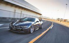 Lataa kuva 3D-Suunnittelu, 4k, BMW i8, 2018 autoja, tuning, superautot, harmaa i8, BMW