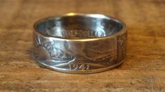 silver coin ring made from a walking liberty half dollar size 8-14 on Etsy, $40.00