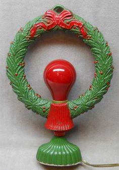 Vintage Cast Iron Christmas Wreath Decoration Light Up.