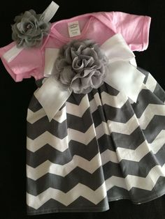 Pink & Grey Chevron Onesie Dress w/Headband. $22.00, via Etsy.
