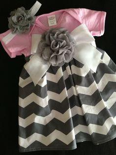 Pink & Grey Chevron Onesie Dress w/Headband. $22.00, via Etsy.