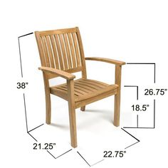 Sussex Stacking Teak Outdoor Patio Armchair - Westminster Teak Outdoor Furniture