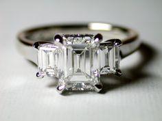Trilogy emerald cut claw set diamond ring - Raphael Jewellers