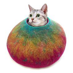 La cama del gato de fieltro personalizados / cueva / Cocon /