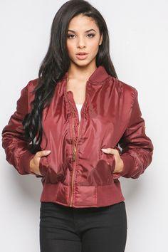 Kylie Wine Zip Front Bomber Jacket at Misspap.co.uk
