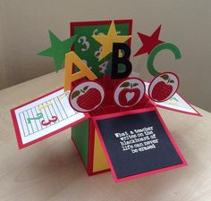 Special/Best Teacher, pop up greeting card, card in a box Teachers Day Card, Teacher Cards, Teacher Gifts, Fun Fold Cards, 3d Cards, Your Cards, Popup, Scrapbook Cards, Scrapbooking