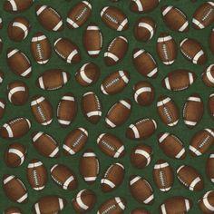 Football Fabric - RJR The Whole 9 Yards Sports Fabric football, Green Fabric 2290 / Fat Quarter / 1 Yard Cut  / 1/2 Yard Cuts by SewWhatQuiltShop on Etsy