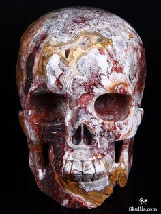 Red Crazy Lace Agate Crystal Skull My favorite of the rock skulls... because of the distribution of the design, not the bloody evocation of the color.